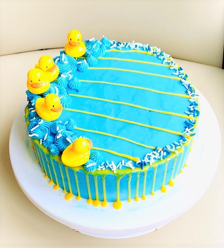 Wondrous Blue Yellow Birthday Cake Smithas Bake Love Personalised Birthday Cards Paralily Jamesorg
