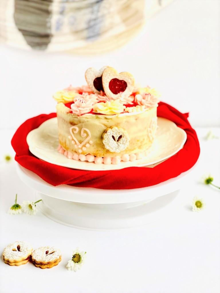 Valentines Day Cookies Cherry Blossom Flowers Linzer Cookies Heart Cookies Vanilla Cake
