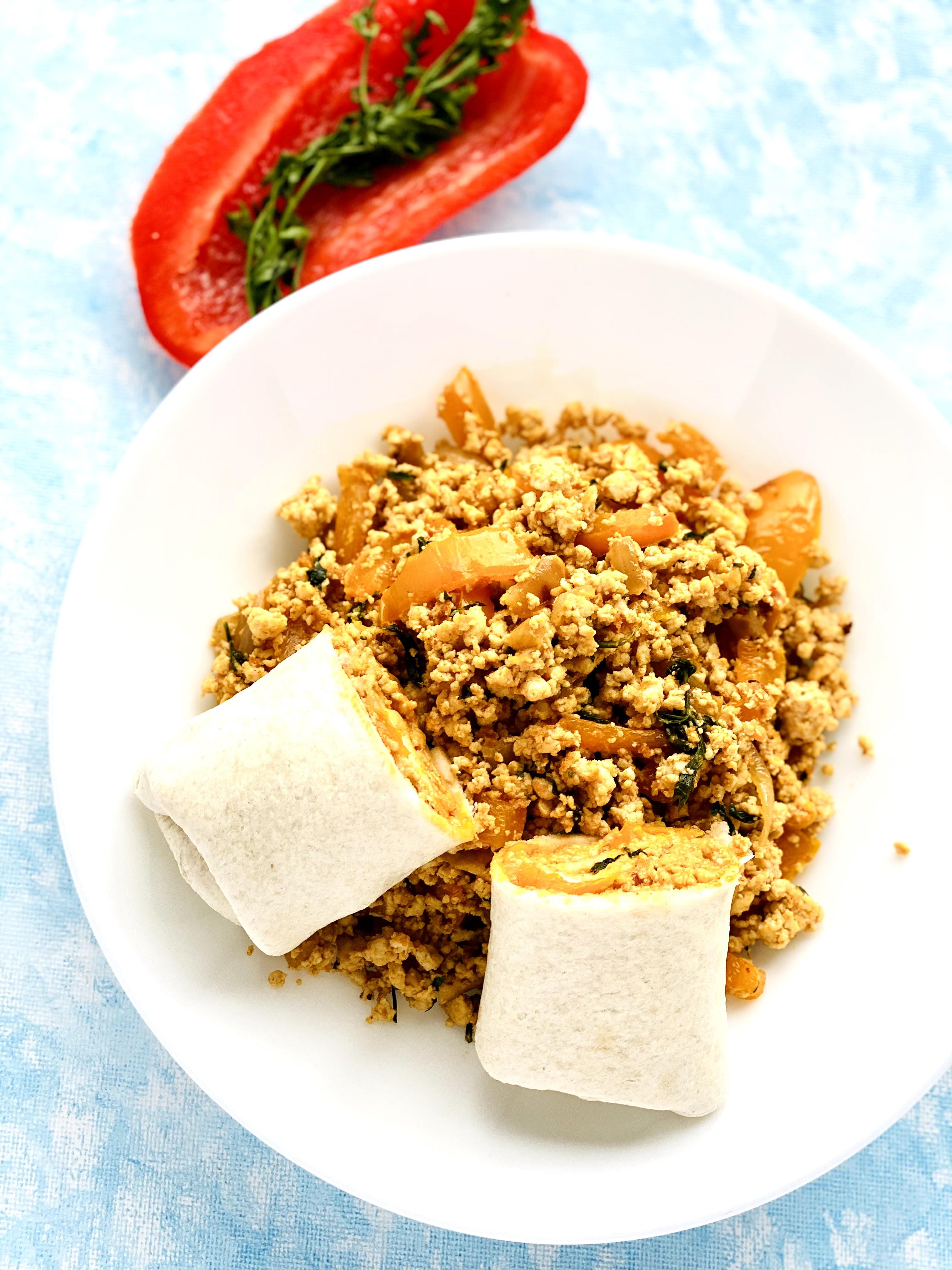 Tofu Carrot Greens Burritos