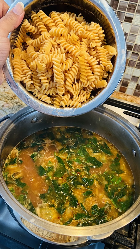Vegan Brothy Chickpea Pasta with Spinach and Tomatoes